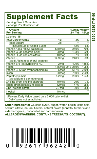vitamin supplement nutrition facts